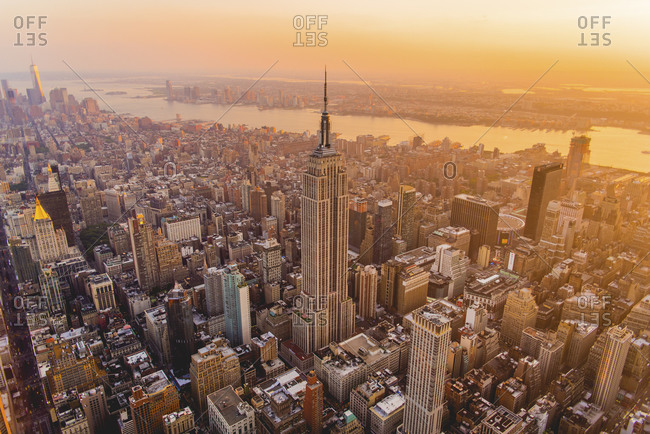 New York City, NY, USA - July 11, 2015: Manhattan and the Empire State Building at sunset, New York City, NY