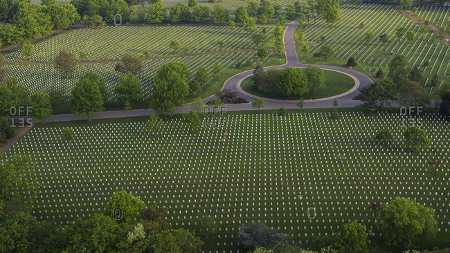 Aerial view of the Arlington National Cemetery, Arlington County, Virginia