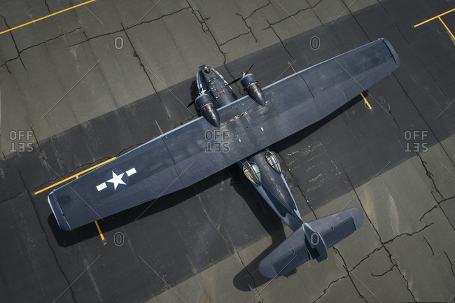 Aerial view of an old military plane at the Arsenal of Democracy, Washington D.C.