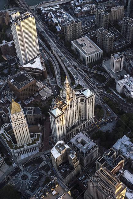 New York City, NY, USA - September 5, 2015: Aerial view of the Manhattan Municipal Building, Manhattan, New York City, NY