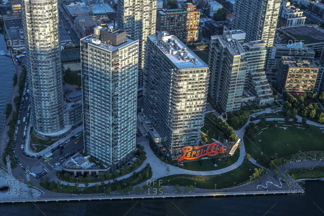 New York City, NY, USA - September 5, 2015: Gantry Plaza State Park in Long Island City, NY