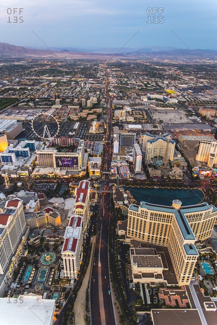 Aerial view of the strip in Las Vegas, NV