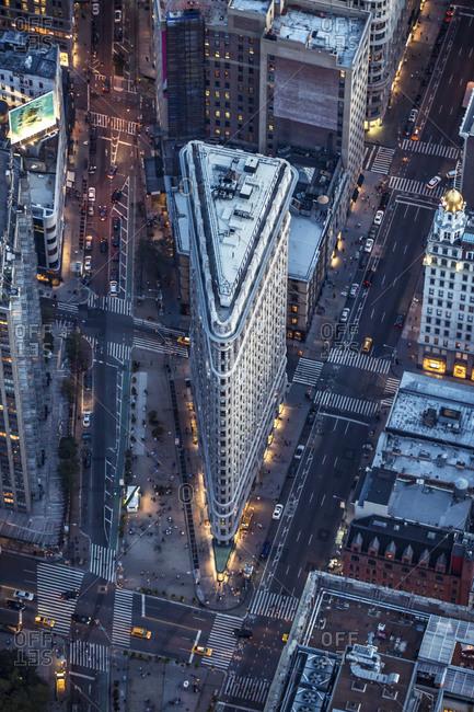 New York City, NY, USA - September 9, 2015: Flatiron building at night, Manhattan, New York City, NY