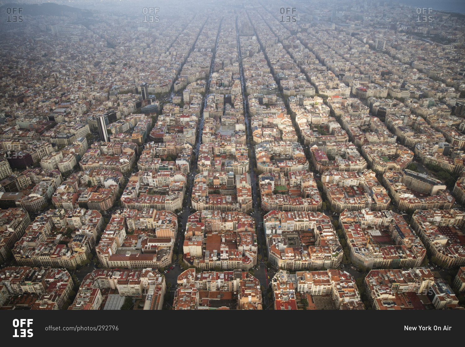 Bird S Eye View On A Cloudy Day Of Barcelona Spain Stock Photo Offset