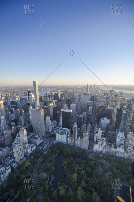 Aerial view of buildings surrounding Central Park, Manhattan, New York City, NY