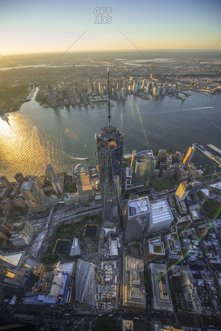 New York City, NY, USA - October 19, 2015: One World Trade Center at sunset, Manhattan, New York City, NY