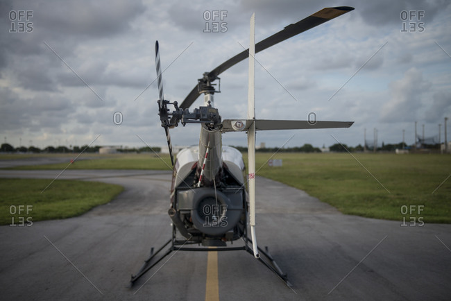 Rear view of a helicopter
