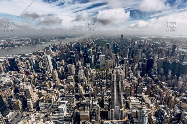 New York City, NY, USA - September 13, 2015: Aerial view of Manhattan, New York City, NY