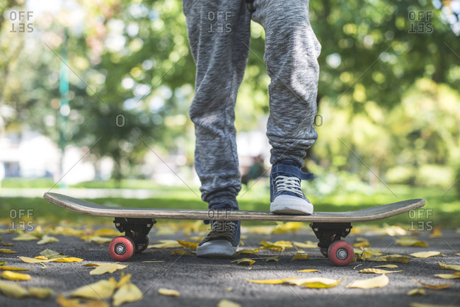Boy stepping on a skateboard in park in autumn
