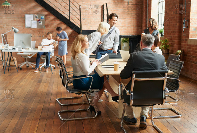 Boardroom meeting in a trendy office space