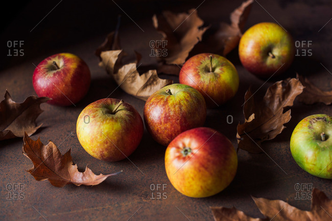 Apples and fall leaves