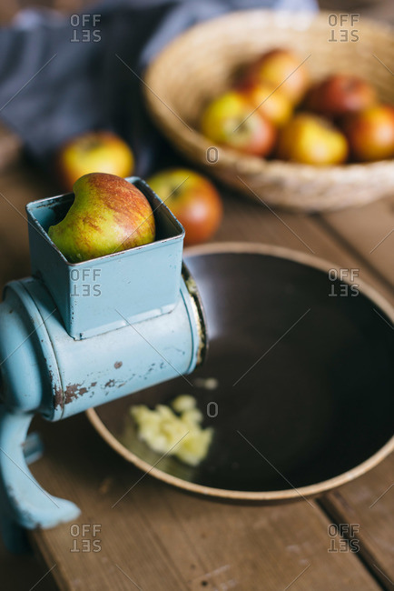 Apples in an apple grinder