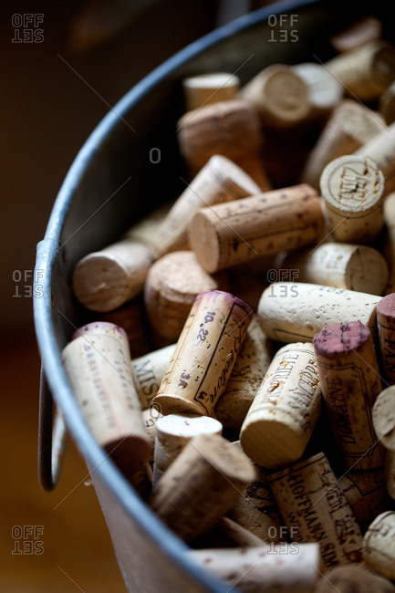 wine corks in a metal wash tub