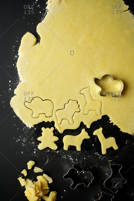 Sugar cookies cut into animal shapes