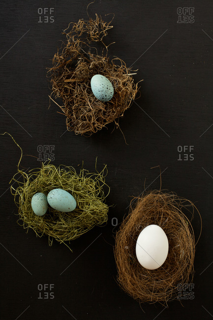 Four whole eggs on nests