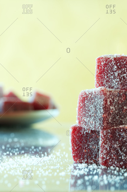 Stack of pate de fruit candy