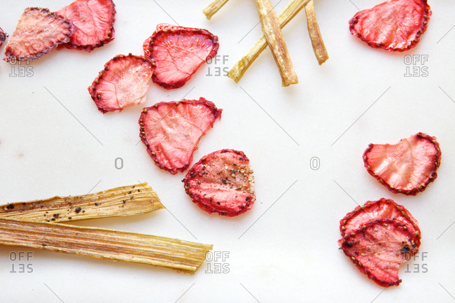 Strawberry and rhubarb chips from above