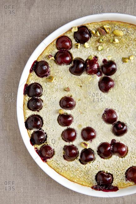 Cherry pistachio clafoutis dish
