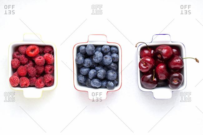 Raspberries, blueberries and cherries