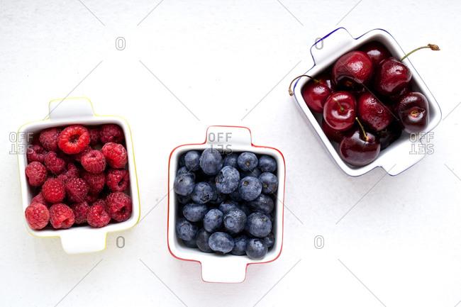 Raspberries, cherries and blueberries