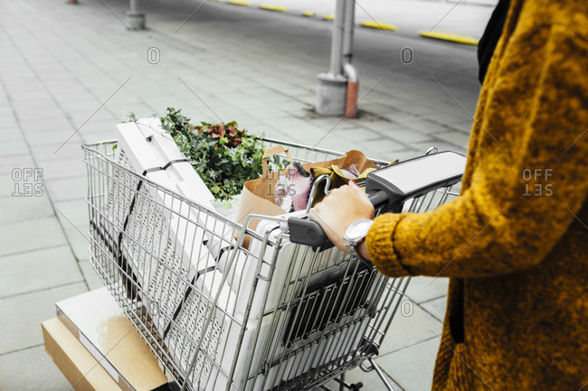 Woman pushing shopping cart filled with her purchases at housewares store