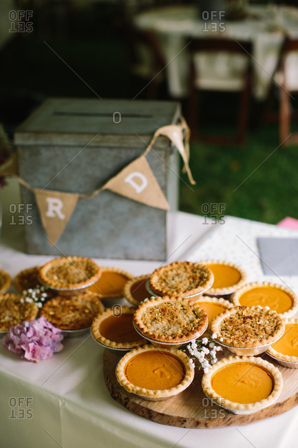 Pies on dessert table at a wedding