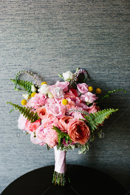 Bride\'s bouquet with pink roses and peonies
