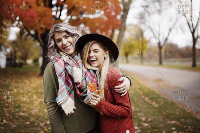 Friends having fun on a fall day