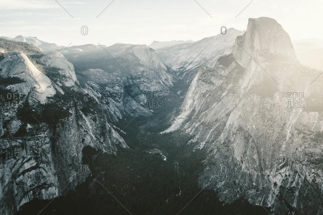 Half Dome and valley in Yosemite, California