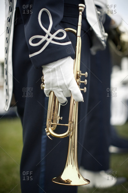 Trumpet player in a marching band