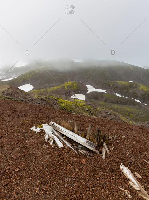 Homestead ruins on hillside in Iceland