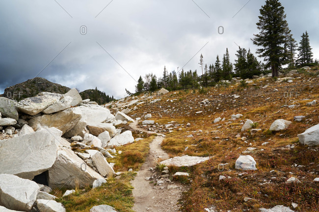 Hiking trail through a rocky mountainside