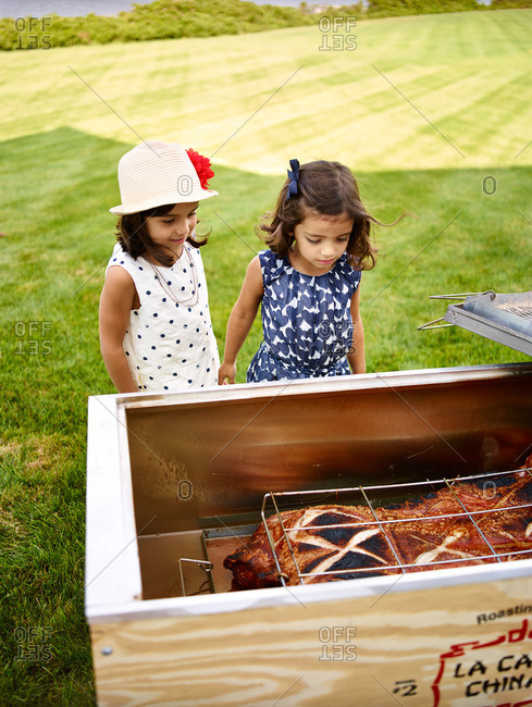 Bridgehampton, NY, USA - August 3, 2013: Two young girls looking at a roasted whole pig at a catered backyard party