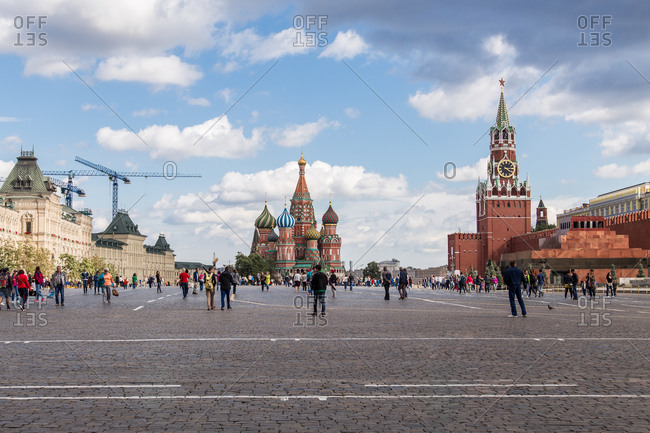 Moscow, Russia - July 21, 2015: View of Moscow's Red Square with St. Basil's Cathedral, the Kremlin and Gum Department Store