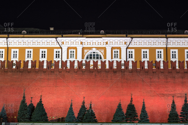 Red brick wall surrounding the Kremlin Palace as seen from Red Square, Moscow
