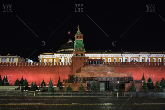 Lenin's Tomb stands in Moscow's Red Square with the brick-walled Kremlin in background