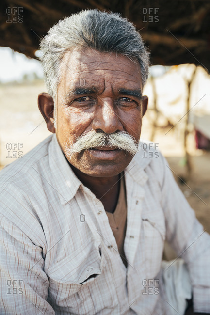Rajasthan, India - February 2, 2015: Portrait of man in Rajasthan, India