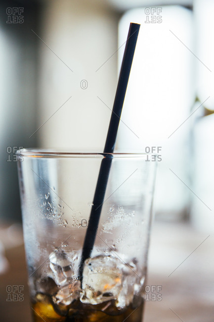 Close up of glass of cola