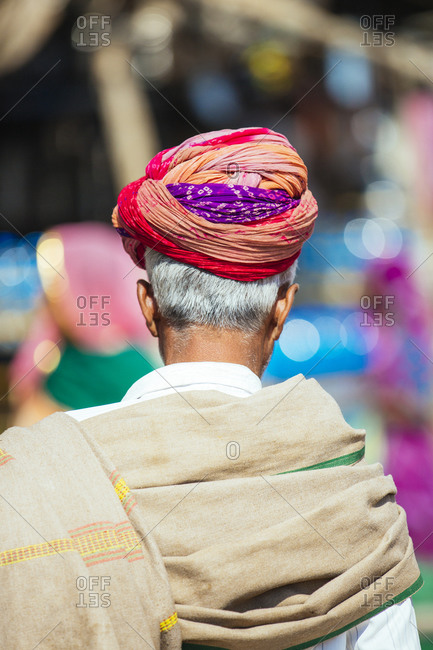 Man with turban in crowded Indian street