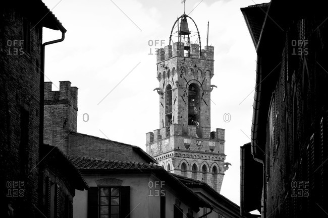 Torre del Mangia in the medieval town of Siena, Tuscany, Italy