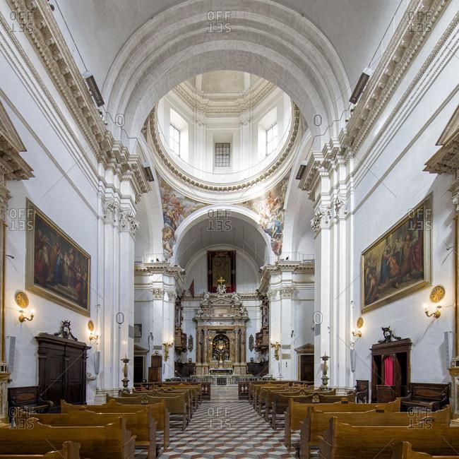 Tuscany, Italy - September 25, 2015: Interior of a catholic church in the medieval town of Siena, Tuscany, Italy