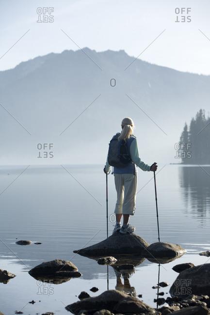Woman hiking near Fallen Leaf Lake, Lake Tahoe, CA