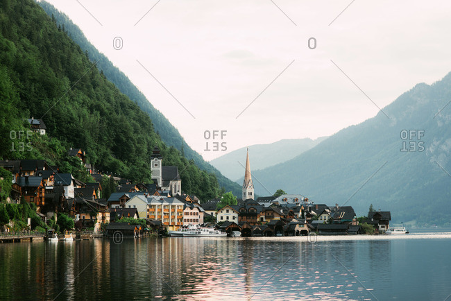 Village along the coast of Hallstatter See, Hallstatt, Austria