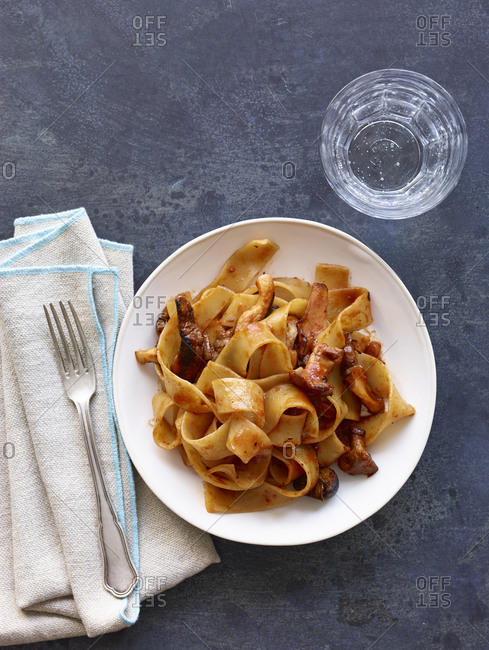 Pappardelle pasta with tomato sauce