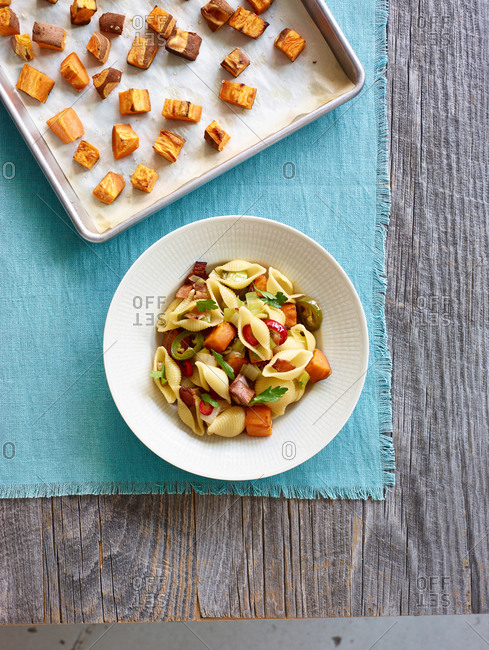Small shell pasta with jalapenos and sweet potato
