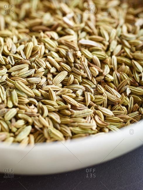 Close up of fennel seeds in a bowl