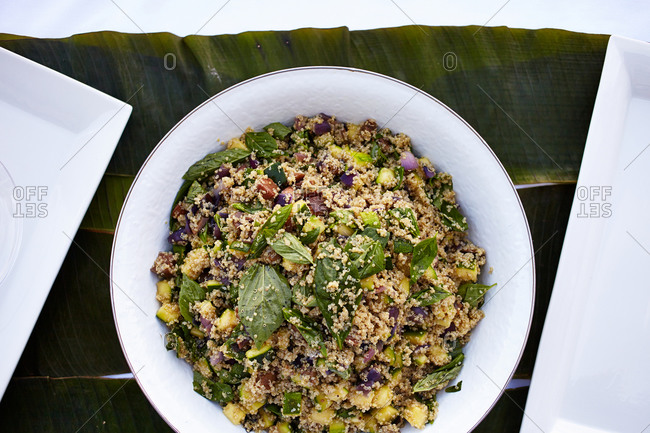 Quinoa salad with spinach and zucchini