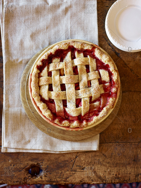 Fresh baked strawberry-rhubarb pie