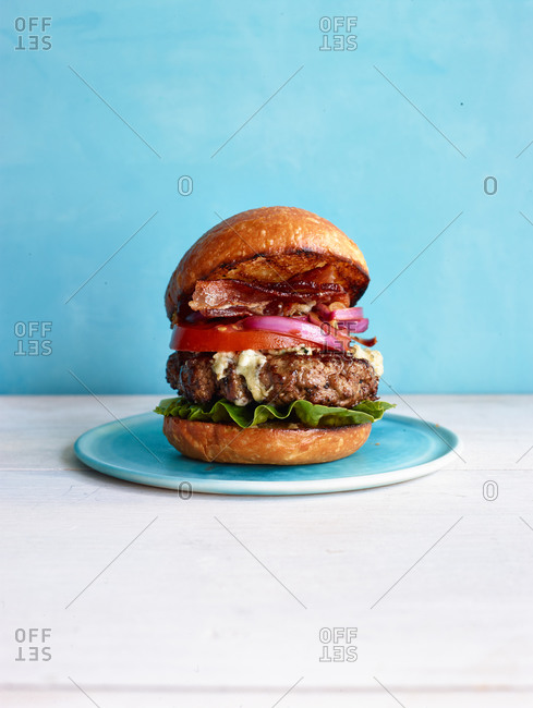 Cheeseburger with bacon, onion, tomato and Swiss cheese