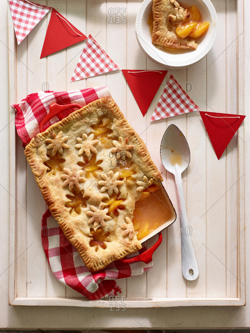 Peach cobbler with flower shaped cut outs